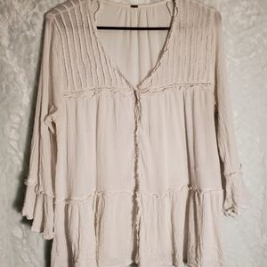 ANTHRO Free People White Boho Blouse